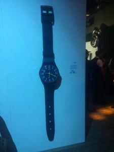 A life-size Swatch watch