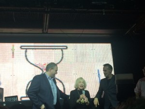 Swatch executives and June at the event