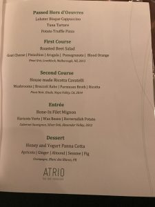 The press dinner menu